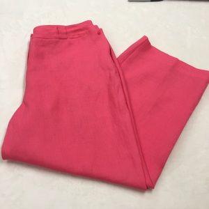 Talbots Irish Linen Pink Capri Crop Pants Size 14